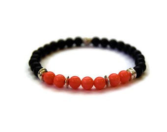 Pink Coral Bracelet, Black Onyx Bracelet, Womens Bracelet, Womens Jewellery, Gift For Her, Valentines for her, Mothers Day Gift