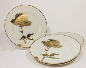 Fitz and Floyd Golden Rose Porcelain Plates Set of 4, 1970s Vintage