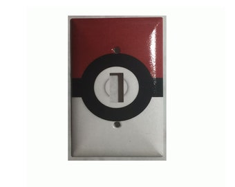 Pokemon Red Pokeball Toggle, Rocker Light Switch & Power Duplex Outlet Cover Plate home decor