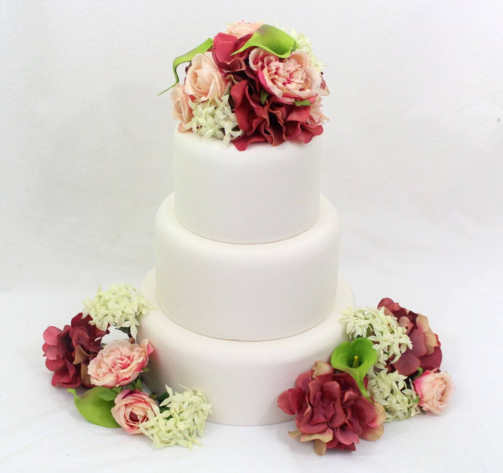 Wedding Cake Topper Pink Coral Hydrangea Green Calla Lily
