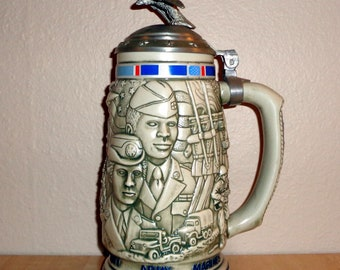 Avon Tribute to the American Armed Forces Beer Stein 1990