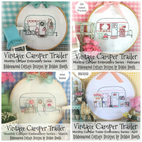 January, February, March, April Vintage Camper Trailer Embroidery Pattern - 20% discount bundle