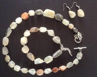 Genuine handmade multi-coloured Monstone necklace, bracelet and earrings.