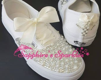 Ivory Pearl Vans Customised Vans Bride Vans Bling Vans White Vans Wedding Vans Wedding Shoes Bride Shoes Prom Shoes Prom Vans Ivory Pumps