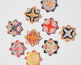 Fridge MAGNETS, Origami Rosettes, Gift Item, Orange and Black Magnets, Unique Friendship Gifts, Unique Magnets, Party Favors, Vicki Bolen