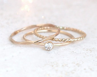 GOLD stacking birthstone ring set. THREE stackable gold filled rings. mothers rings. personalized gift for her. custom jewelry. minimalist.