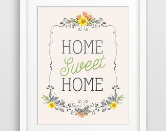 Home Sweet Home Wall Art Print, Inspirational Quote, Home Decor, Housewarming Gift, Hallway Decor, Typography Art, Hostess Gift