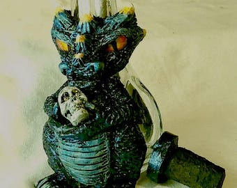 Clay-on-Glass Midnight Dragon Sculpture with Skull, Originally a hookah, now a Bud vase or vessel