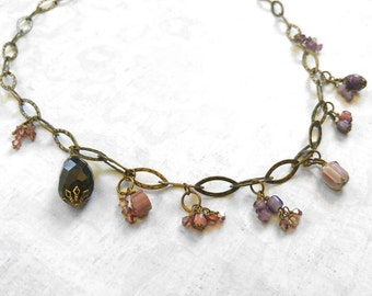 Beauty Gift Purple Necklace - Faceted Amethyst and Glass Beaded Necklace on a Gold-Plated Brass Chain