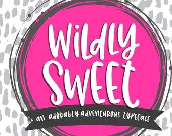 Digital Font Download- Wildly Sweet- Handwritten font- Open Type Font OTF- True Type Font- TTF