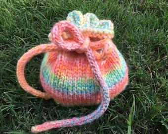 Handmade Knit Drawstring Bag - Candy