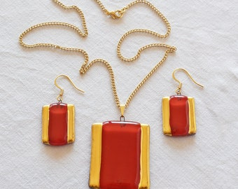 Jewellery set handmade painted red with gold, necklace and earrings, rectangle