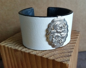 "Women's WHITE LEATHER BRACELET with Bright Silver-Tone Wild Rose Concho. Lined. For 6"" Wrist. Leather Cuff with Floral Western Concho."