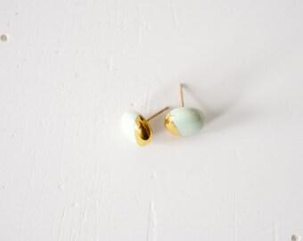 22k Gold Dipped Studs - Mint Stud Earrings, 14k gold filled posts, Wedding Jewelry, Sensitive Ears