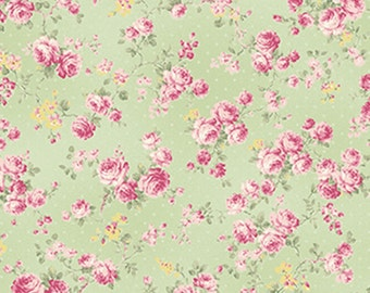 Ruru Bouquet - Roses Allover Green - Quilt Gate (2200-17C) Cotton Fabric Yardage