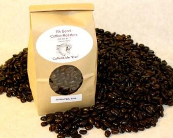 "8 oz (half pound bag) Sumatra Mandheling Fair Trade, Organic Fresh Roasted Coffee, Whole Beans, Dark Roast, ""Caffeine Me Now"""