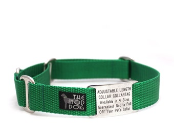 """1"""" The Cullen buckle or martingale dog collar with flat ID tag"""
