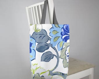Bag: Tote, Carry, Shopping, Library; Grey Handle; Large Floral Flowers Leaves Stems; Blue, Green, White, Grey; Lady, Woman, Girl Gift