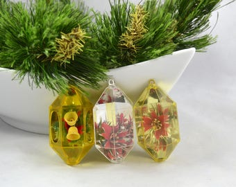 Vintage Gold Jewel Brite Diorama Christmas Ornaments, Mid Century Plastic Jewel Brite Ornament
