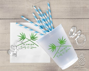 Personalized Cups | Monogram Cups | Wedding Party Cups | Tropical Cocktail Cups | Bamboo Party Cups | Frosted Cups | Party Cups or Napkins