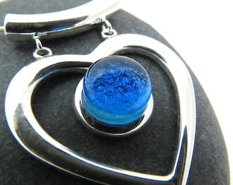 Turquoise Blue Heart Necklace - Fused Glass and Silver Necklace