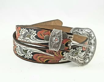 Womens Western Leather Belt - Womens Leather Belt - Womens Western Belt - Painted Leather Belt - Western Belt Women - Cowgirl Western Belt