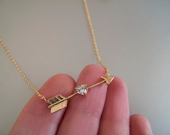 Gold Arrow Necklace with CZ, Dainty Layering Necklaces, Arrow Pendant - Gift for her