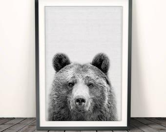 Bear Print, Woodlands Nursery Animal, Printable Poster, Digital Download, Nursery Decor Wall Art, Black and White, Kids and Babies Room