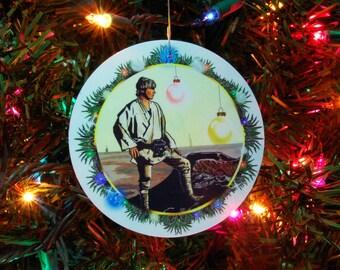 STAR WARS Luke Skywalker  Christmas Ornament, Christmas Decoration, 4inch round, fine art print, laminated
