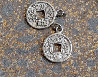 Silver Chinese Coin Charm, Chinese Coins, Lucky Charms, Silver Charms, Money Charms, Lucky pendant, Coin Charms, Pairs,,BS17-0126R