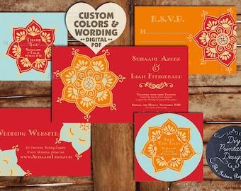 Thailand save date etsy indian wedding card invitation set suite lotus flower design printable asian nepali thai hindu muslim sikh stopboris Image collections