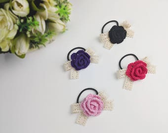 Crochet Rose with Lace Bow Elastic Hair Tie/ Crochet Flower Hair Clip / Rose and Lace Hair Bow Tie/ Cotton Tie