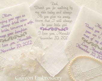 Set of Three Embroidered Personalized Mom & Dad of the Bride Mother In Law set of 3 Wedding Handkerchiefs By Canyon Embroidery