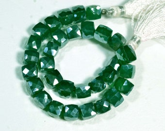 8 Inches Mystic Coated Green Onyx Beads 6x6.5mm to 7x7.5mm Cube Shape Beads Faceted Gemstone Beads Chalcedony Briolettes Semi Precious No417
