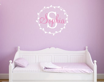 Monogram Girl Name Leaf Wreath Custom Girls Name Bedroom Nursery - Vinyl Wall Decor Decal