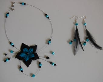 set bridal wedding jewelry necklace and earrings set black-turquoise blue silk feather Flower Earrings Pearl bridesmaid jewelry