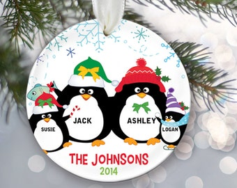 Personalized Family Christmas Ornament Penguin Family of 4 Penguins Ornament Christmas Gift Custom Ornament Holiday Gift Name & Date OR250