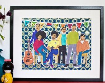 custom family portrait, bespoke illustration - beautiful family with bunting, guitar, personalised artwork
