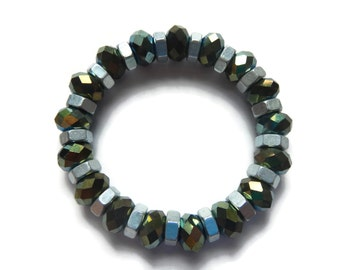 Galaxy Green/Gold/Silver - Bracelet - Faceted Glass Crystal Stretch Stacking Bracelet - Mishimon Designs