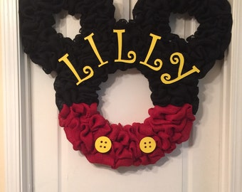 Personalized Mickey Mouse wreath