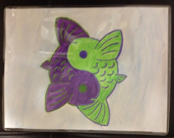 Green & Purple Yin-Yang Koi Fish Watercolor Painting