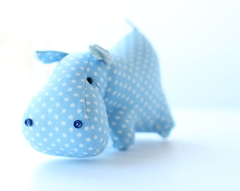 Toy blue hippo. Soft toy - male symbol gift for boy. Fabric baby game. Hippopotamus toy.