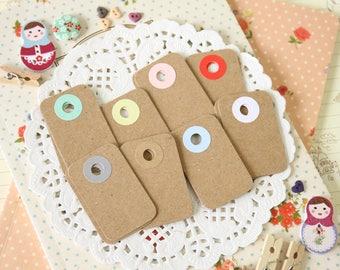 Plain Kraft Brown reinforced color holes Petite Tags