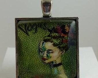 Vintage Dancer Lady Glass Cabochon Pendant