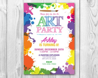 Art Party Birthday Party Invitation - Painting Party Birthday Party Invite - FREE Thank you card - Paint splats - Paint brush