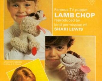 Lambchop Puppet, Knitting And Crochet Pattern. PDF Instant Download.