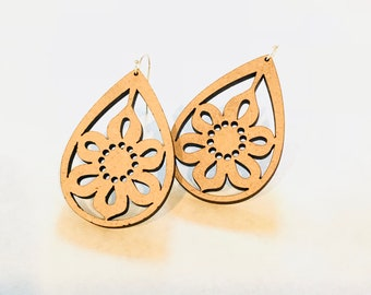 Wood Flower Earrings - Eco-friendly Fashion Besties, Sisters, Mom, LDR, 5th Anniversary