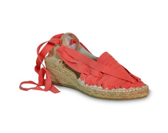 lace up wedge espadrilles - coral red - wedges, lace-up sandals, wedge espadrilles, espadrilles, lace up wedges, wedge sandals, wedges