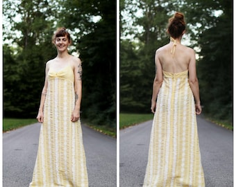 1970s Yellow Gingham and Lace Dress
