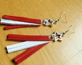 Star earrings, dangle earrings, leather earrings, stars earrings, long earrings, leather dangle,red earrings,leather jewelry, white earrings